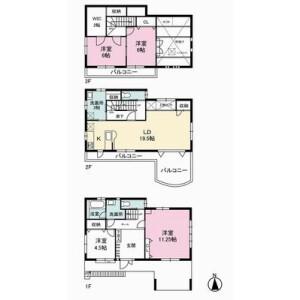 3LDK {building type} in Megurohoncho - Meguro-ku Floorplan