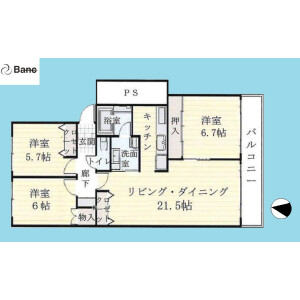 3LDK {building type} in Shirasagi - Nakano-ku Floorplan