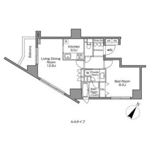 目黒区上目黒-1LDK公寓大厦 楼层布局