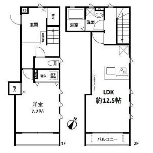 1LDK Terrace house in Yoshinocho - Saitama-shi Kita-ku Floorplan