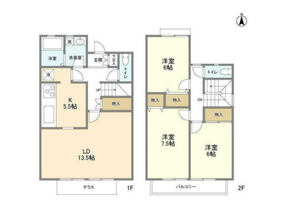 3LDK Terrace house to Rent in Yokohama-shi Tsuzuki-ku Floorplan