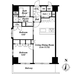 2LDK Mansion in Hiroo - Shibuya-ku Floorplan