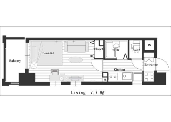 1K Apartment to Rent in Kyoto-shi Minami-ku Floorplan