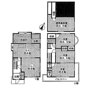 目黒区八雲-3LDK独栋住宅 楼层布局