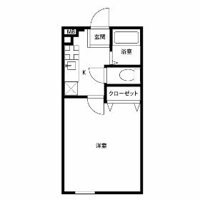 青梅市河辺町-1K公寓大廈 房間格局