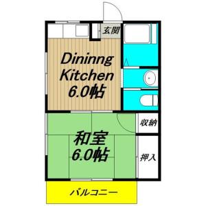 1DK Apartment in Kitaminemachi - Ota-ku Floorplan