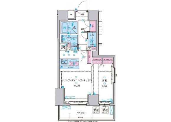 1LDK Apartment to Rent in Taito-ku Floorplan