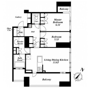 2LDK Mansion in Tomigaya - Shibuya-ku Floorplan