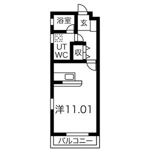 1K Apartment in Nishishigacho - Nagoya-shi Kita-ku Floorplan