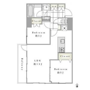 2LDK Apartment in Ebisu - Shibuya-ku Floorplan