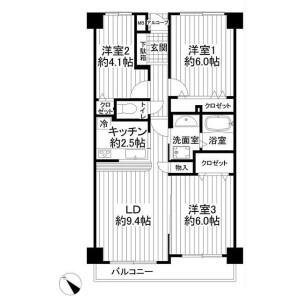 3LDK Apartment in Narashinodai - Funabashi-shi Floorplan