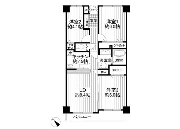 3LDK Apartment to Buy in Funabashi-shi Floorplan