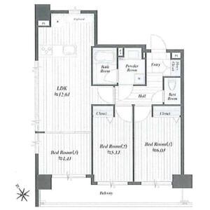 3LDK Apartment in Mita - Minato-ku Floorplan