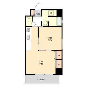 1LDK Mansion in Shinsakae - Nagoya-shi Naka-ku Floorplan