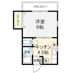 目黒区中目黒-1K公寓 楼层布局