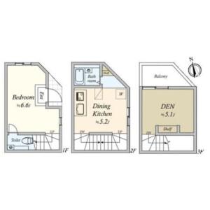 1LDK {building type} in Sanno - Ota-ku Floorplan
