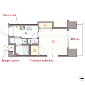 1K Mansion in Higashinodamachi - Osaka-shi Miyakojima-ku Floorplan