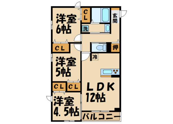 3LDK Apartment to Rent in Chofu-shi Floorplan