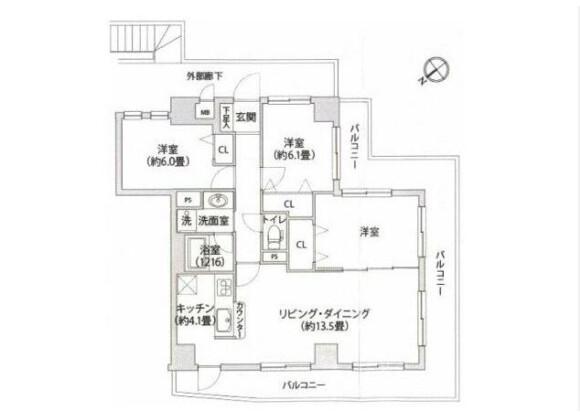 3LDK Apartment to Buy in Yokohama-shi Naka-ku Floorplan