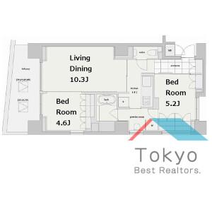 港區南麻布-2LDK公寓大廈 房間格局