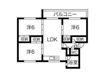 3LDK Apartment to Rent in Sapporo-shi Toyohira-ku Floorplan