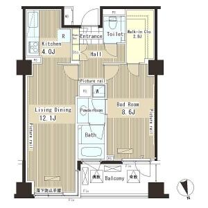 1LDK Apartment in Ebisu - Shibuya-ku Floorplan