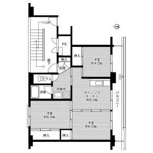 3DK Mansion in Odacho oda - Oda-shi Floorplan
