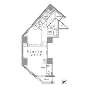 1R Mansion in Azabudai - Minato-ku Floorplan