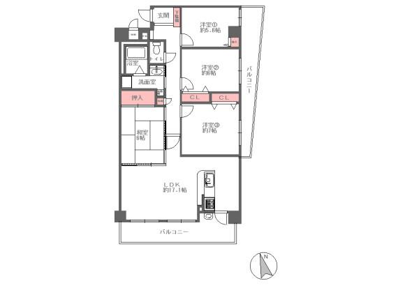 4LDK Apartment to Buy in Suita-shi Floorplan