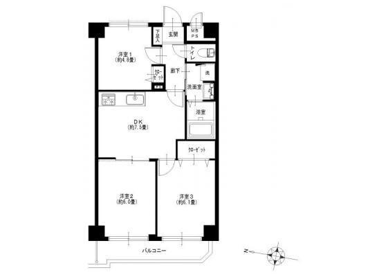 3DK Apartment to Buy in Yokohama-shi Hodogaya-ku Floorplan