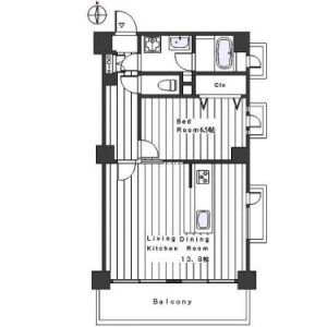 1LDK Mansion in Honkomagome - Bunkyo-ku Floorplan