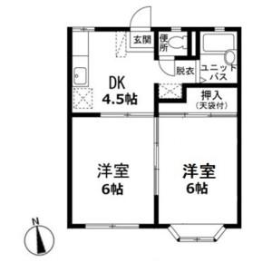 2DK Apartment in Kasumigaseki higashi - Kawagoe-shi Floorplan