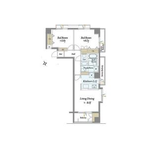 1LDK {building type} in Shibuya - Shibuya-ku Floorplan