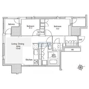 2LDK Apartment in Kojimachi - Chiyoda-ku Floorplan