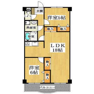 2LDK Mansion in Higashitaishi - Yao-shi Floorplan