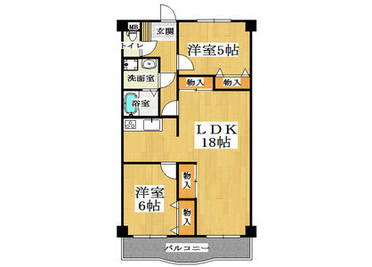2LDK Apartment to Rent in Yao-shi Floorplan
