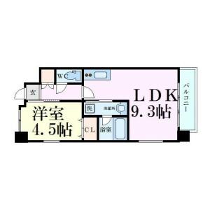 大阪市東淀川区東中島-1LDK公寓大厦 楼层布局