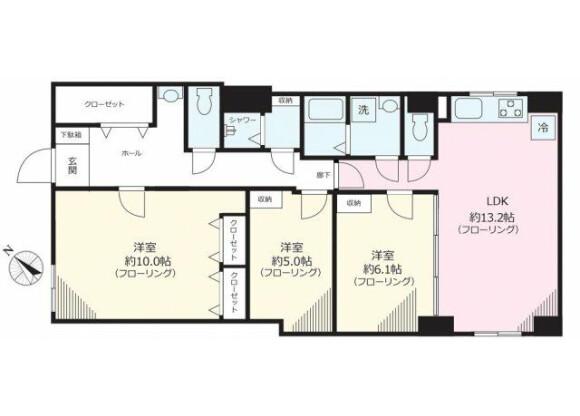 3LDK Apartment to Rent in Bunkyo-ku Floorplan