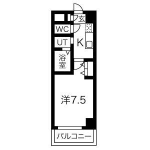 名古屋市中村區上米野町-1K公寓大廈 房間格局