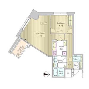 1LDK Mansion in Higashishimbashi - Minato-ku Floorplan