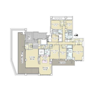 4SLDK Apartment in Takanawa - Minato-ku Floorplan