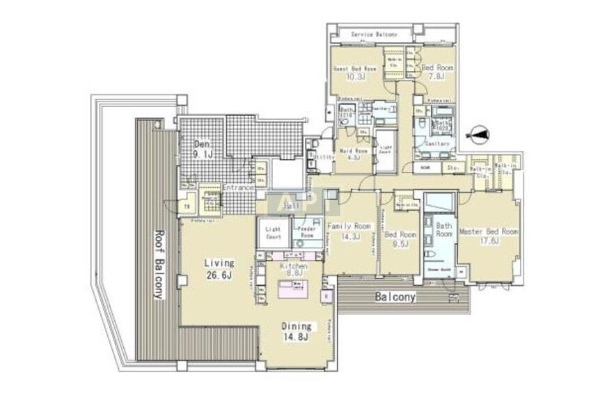 4SLDK Apartment to Rent in Minato-ku Floorplan