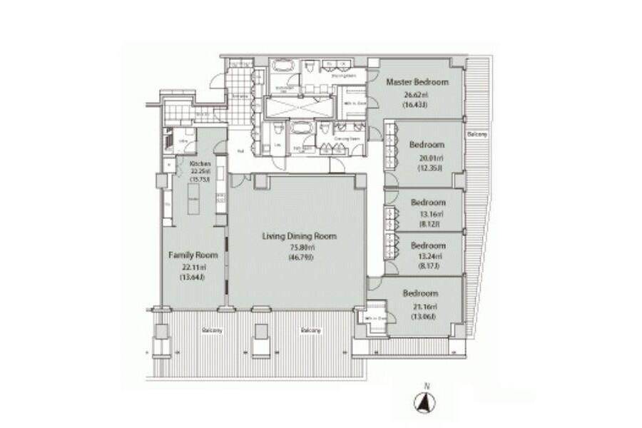 5LDK Apartment to Rent in Shibuya-ku Floorplan