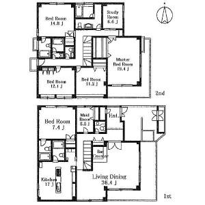 7LDK House in Denenchofu - Ota-ku Floorplan