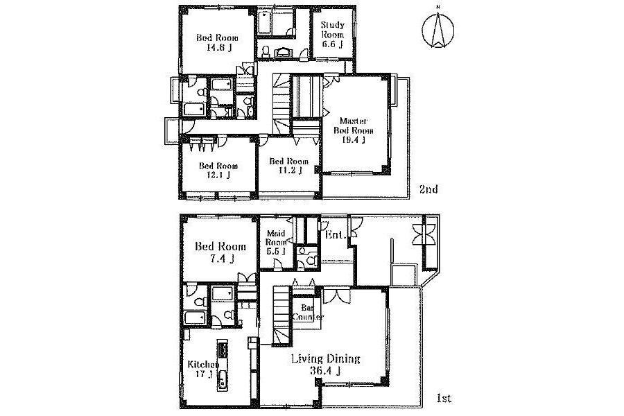 7LDK House to Rent in Ota-ku Floorplan