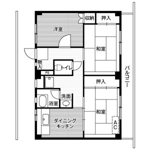 3DK Mansion in Nakashimojo - Kai-shi Floorplan