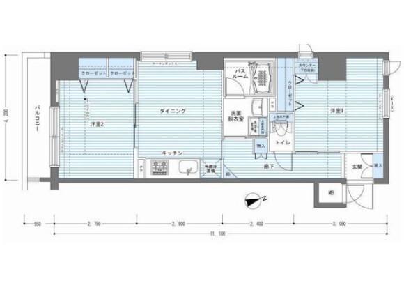 2DK Apartment to Rent in Chuo-ku Floorplan