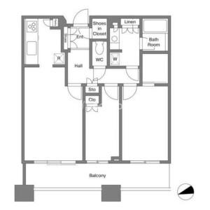 港區芝浦(2〜4丁目)-2LDK公寓大廈 房間格局
