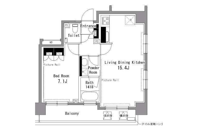 1LDK Apartment to Rent in Shibuya-ku Floorplan