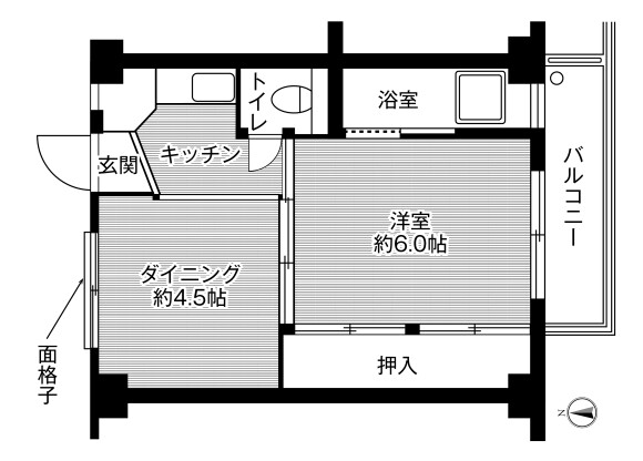 1DK Apartment to Rent in Tokushima-shi Floorplan